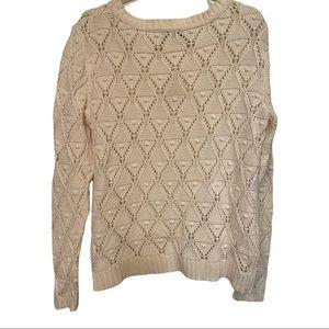 Tommy Hilfiger ivory semi open popcorn Diamond knit 100% cotton sweater Sz large